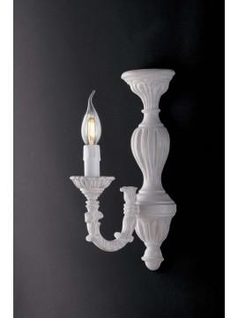 Applique classico in legno bianco shabby chic 1 luce LGT Margò