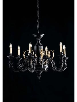 Lampadario classico in legno nero e oro 6 luci LGT Margò