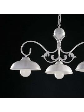Lampadario a bilanciere in ferro battuto bianco shabby chic 3 luci LGT Dome