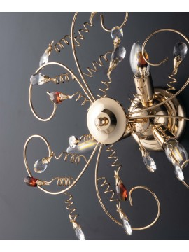Modern gold ceiling light with 3 lights crystals LGT Jasmin swarovsky design