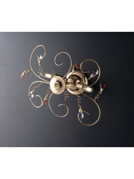 Modern gold ceiling light with 2 lights crystals LGT Jasmin swarovsky design