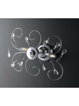 Plafoniera moderna cromata con cristalli 2 luci LGT Jasmin design swarovsky