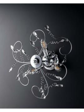 Plafoniera moderna cromata con cristalli 3 luci LGT Jasmin design swarovsky