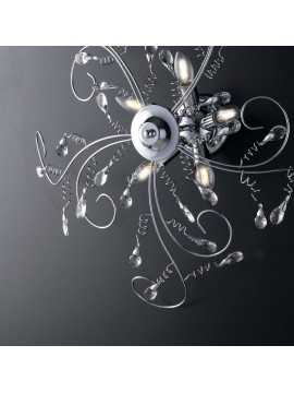 Modern chromed ceiling light with 5 lights crystals LGT Jasmin swarovsky design