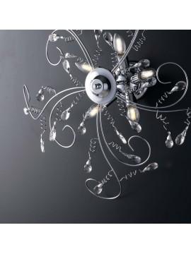 Plafoniera moderna cromata con cristalli 5 luci LGT Jasmin design swarovsky