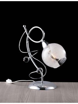 Modern chrome table lamp with 1 light LGT Katarina crystals