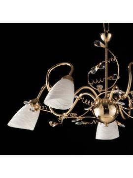 Lampadario classico oro lucido con cristalli 5 luci LGT Emma oro