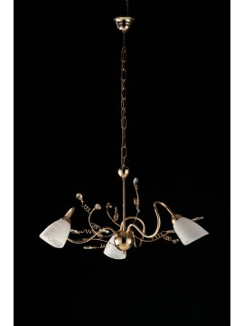Lampadario classico oro lucido con cristalli 3 luci LGT Emma oro