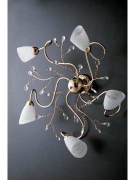 Classic shiny gold ceiling light with 5 lights LGT Emma gold crystals