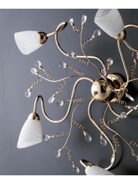 Plafoniera classica oro lucido con cristalli 5 luci LGT Emma oro