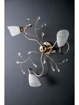 Classic shiny gold ceiling light with 3 lights LGT Emma gold crystals