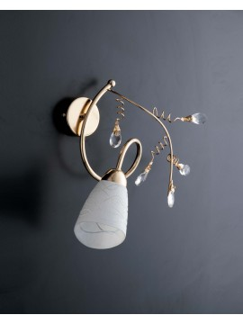 Classic shiny gold wall light with 1 light LGT Emma gold crystals