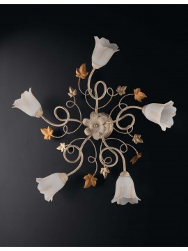 Classic ivory-gold wrought iron ceiling light with 5 lights LGT Edera