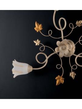 Plafoniera classico in ferro battuto avorio-oro a 3 luci LGT Edera