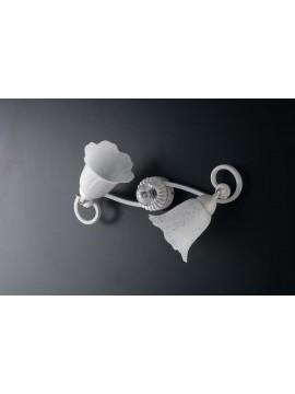 Plafoniera classica in ferro battuto bianco con snodo 2 luci LGT Oriana