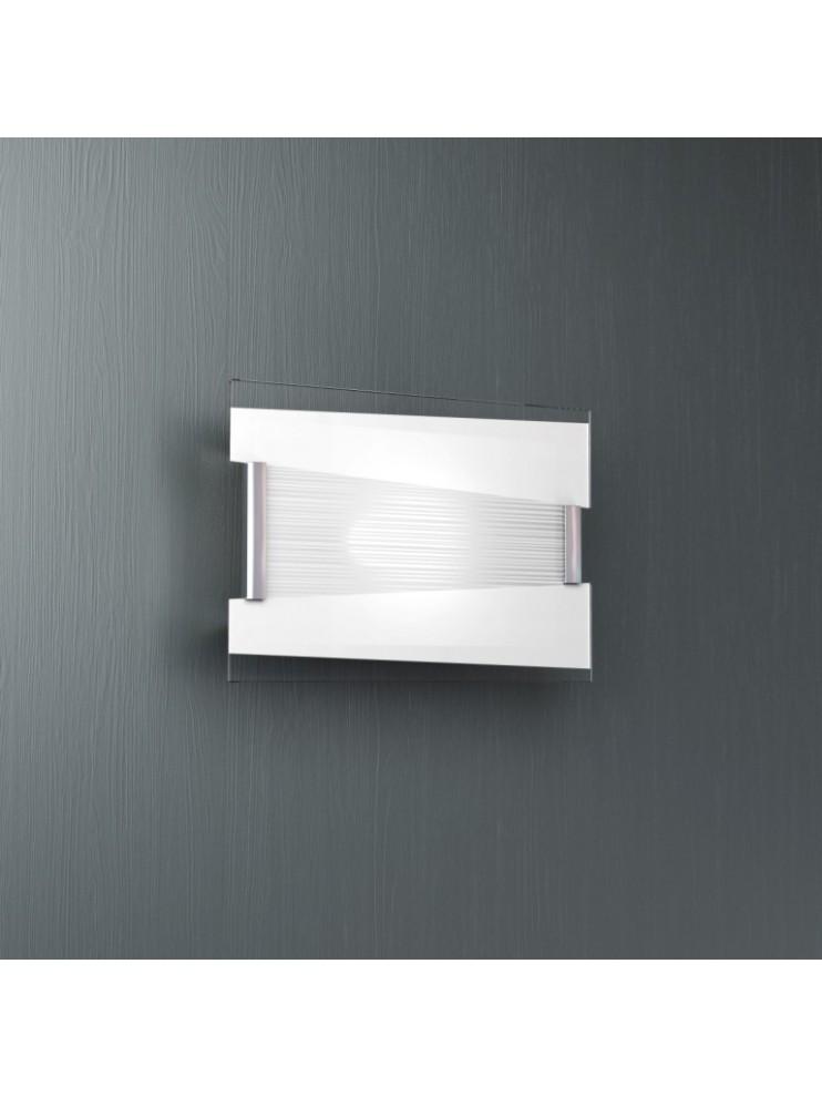 Applique 1 luce moderno cromato vetro bianco tpl1074-a30bi
