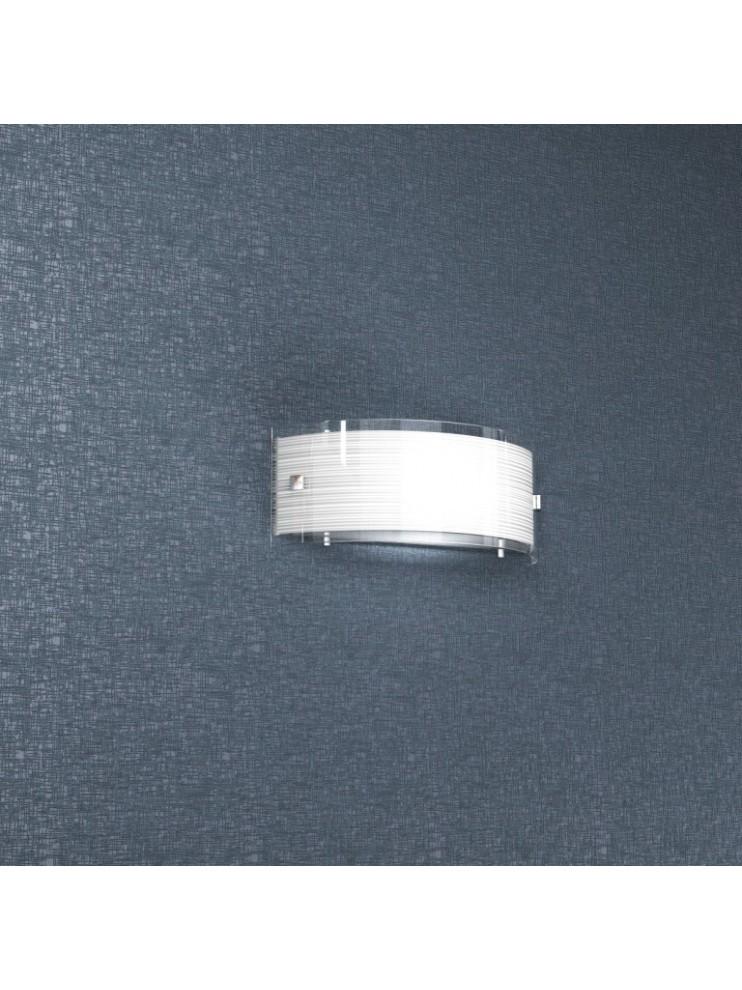 Applique 1 luce moderno cromato vetro bianco tpl1075-a30bi
