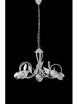 Contemporary white wrought iron chandelier 5 lights LGT Baku