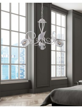 Contemporary white wrought iron chandelier 3 lights LGT Baku
