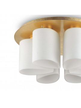 Plafoniera moderna foglia oro e vetro soffiato 6 luci Daisy pl6