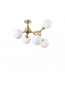 Contemporary ceiling light modern design 5 lights Nodi pl5 satin brass