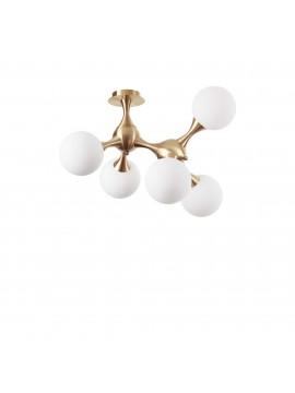 Plafoniera contemporanea design moderno 5 luci Nodi pl5 ottone satinato