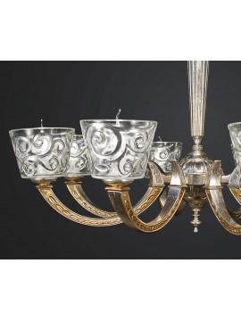 Lampadario classico in ottone foglia argento-oro 8 luci BGA 1889-8