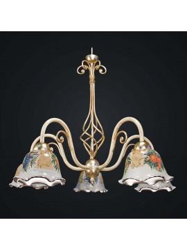 Lampadario classico in ferro battuto e ceramica 5 luci BGA 1897-5