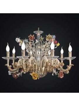 Lampadario classico cristallo e legno primavera 8 luci BGA 1946-8