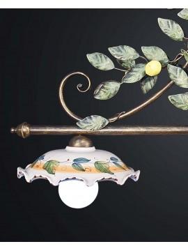 Classic barbell in wrought iron lemons and ceramic 2 lights BGA 1973-b2