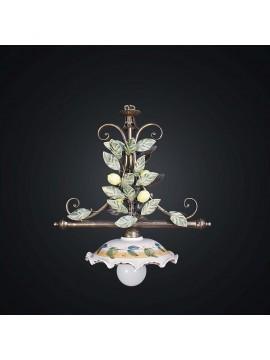 Lampadario classico in ferro battuto limoni e ceramica 1 luce BGA 1973-s1