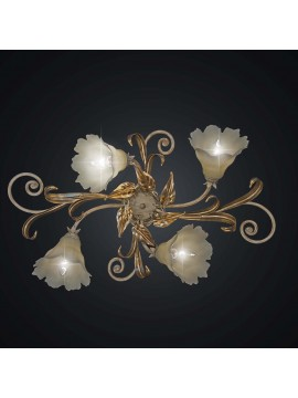 Classic ceiling lamp in wrought iron gold leaf with 4 lights BGA 1975-4