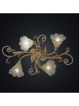 Plafoniera classica in ferro battuto foglia oro a 4 luci BGA 1975-4
