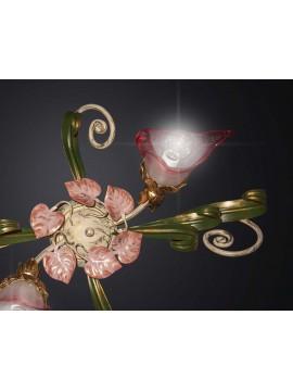 Plafoniera classica in ferro battuto verde-rosa 2 luci BGA 2022-2
