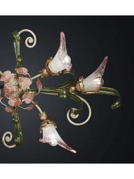Plafoniera classica in ferro battuto verde-rosa 6 luci BGA 2022-6