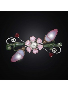 Plafoniera classica in ferro verde e rosa a 2 luci BGA 2045-2