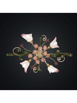 Plafoniera in ferro battuto verde e rosa 4 luci BGA 2045-4