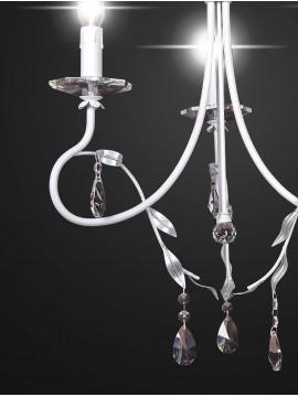 Contemporary white wrought iron chandelier 3 lights BGA 2102-3
