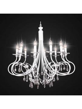 Contemporary white wrought iron chandelier 12 lights BGA 2102-12