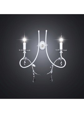Contemporary white wrought iron wall light 2 lights BGA 2102-a2