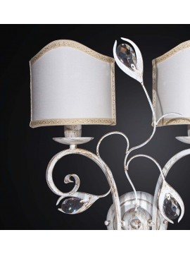 Classic wall light in wrought iron and crystal with 2 lights BGA 2197-a2