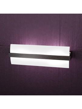 Applique 2 luci moderno cromato e legno wengè tpl1019-a40w