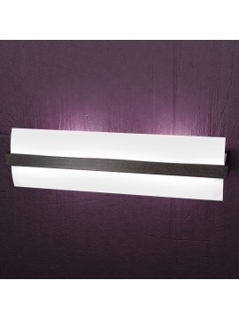 Applique 2 luci moderno cromato e legno wengè tpl1019-a50w