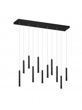 Modern rectangular black led trio chandelier 321611132 Tubular