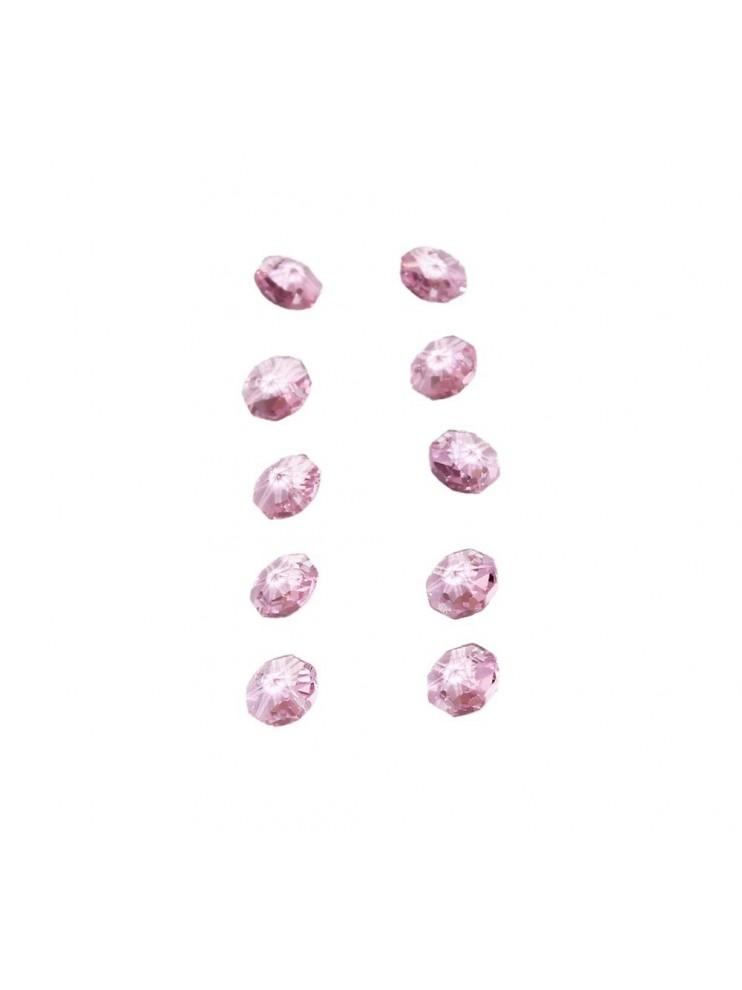 10pz Ottagono Cristallo Rosa