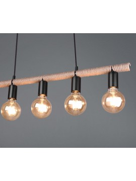 Rustic vintage rope chandelier 5 lights trio R30605032 Einar
