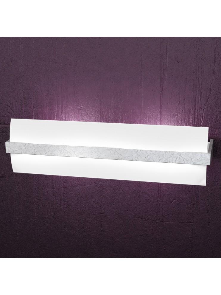 Applique 2 luci moderno legno e foglia argento tpl 1019-a50fa