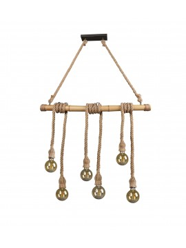 Rustic vintage rope and bamboo chandelier 6 lights trio R30130626 Wilma