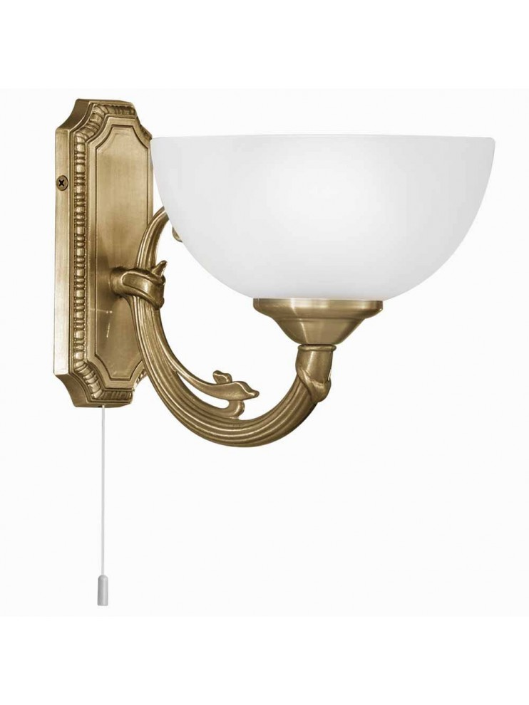 Classic gold bronze wall light with GLO 82751 Savoy glass