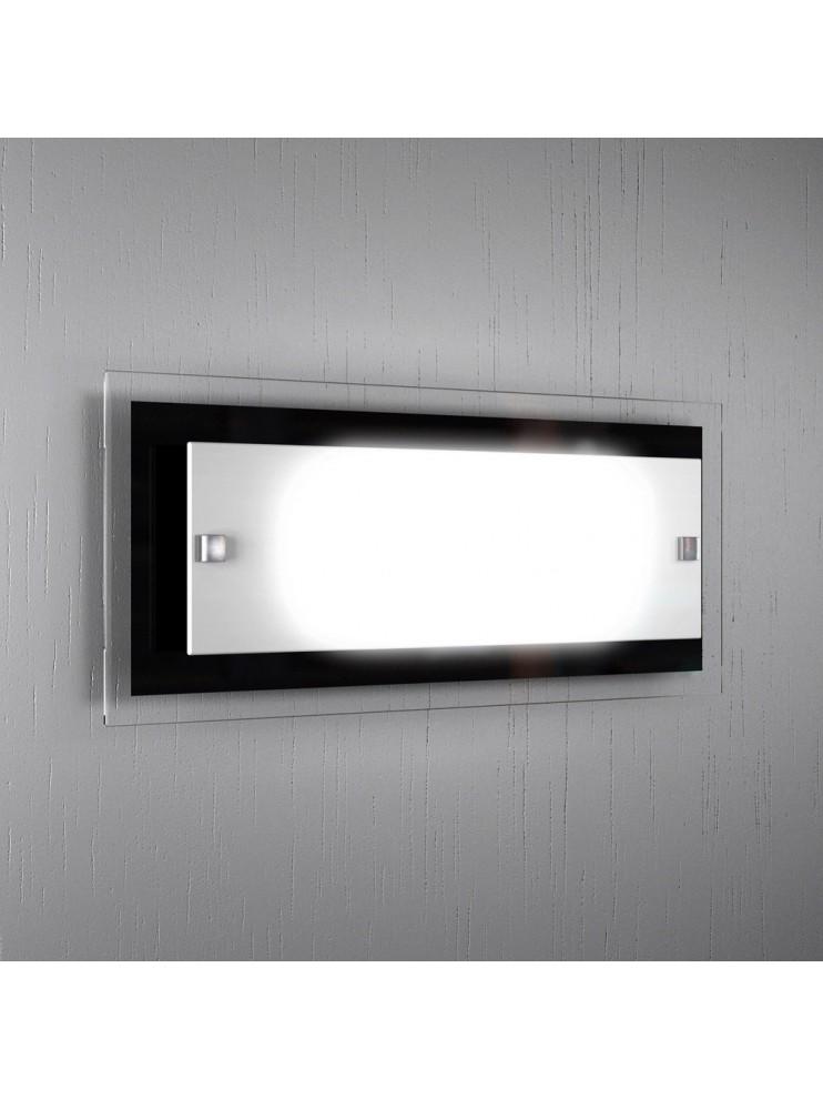 Applique 2 luci moderno vetro bianco-nero tpl1087-agne